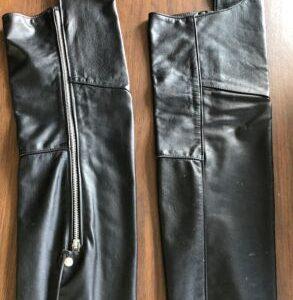 HARLEY DAVIDSON BROOKS Sportswear Black Leather Motorcycle Chaps – Small