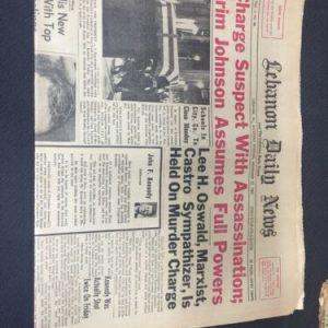 Historical Documents Lebanon Daily News November 23, 1963