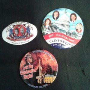 POLITICAL BILL CLINTON  – AL GORE  INAUGURATION DAY POLITICAL PIN BACK BUTTON LOT OF 3 [tag]