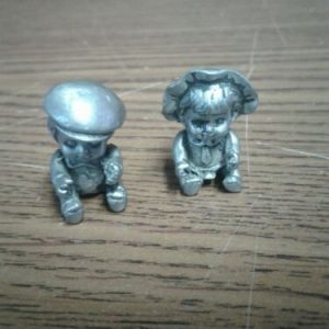 Pewter Vintage Miniature Little Boy and Girl Pewter Figurines