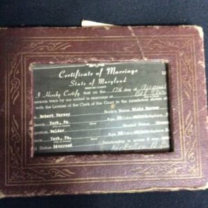 """Historical Documents 1962 Marriage License from Bel Air, MD 4 x 3"""" in frame"""