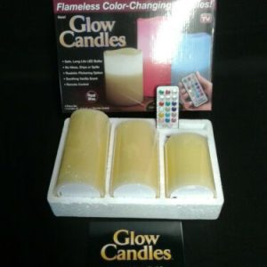 Candles Ontel 3 Glow Candles Flameless 12 LED Colors As Seen on TV with remote. Real Wax [tag]