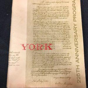 Historical Documents 225th Anniversary Program 1741-1966 York Pennsylvania History