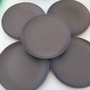 "Tableware Set Of 5 Ikea Brown 8 3/4"" Plate Ceramic Pattern Number 219 63 [tag]"