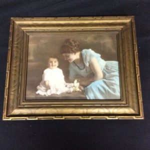 """PHOTOGRAPHS Victorian Mother & Son Color Photo in Frame 7 x 6"""" photo"""
