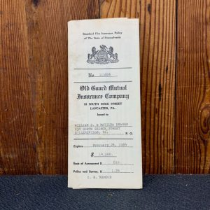 Historical Documents Antique 1965 Standard Fire Insurance Policy Papers