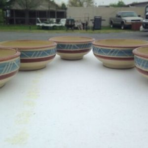 Tableware Set Of 5 Aztec Theme Clay Bowls [tag]