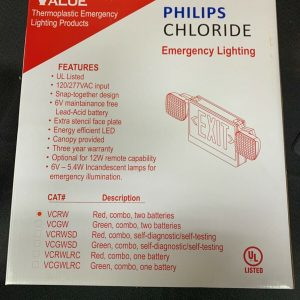 Misc Parts Philips Chloride VC Series-LED Combo White Housing Exit Sign