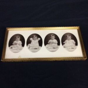 PHOTOGRAPHS 4 Black & White Baby Photos in 15 x 7 in 24 Carat Gold Finish Frame