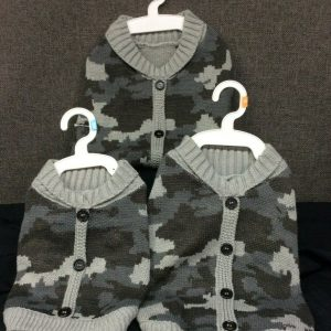 PETS Top Paw Gray Camo Cardigan for Dogs~ Your Choice of S, M, or L~ NEW with Tags!