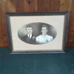 """PHOTOGRAPHS Vintage photo of man & women, possible wedding photo, frame is new  22 1/2 x 16"""""""