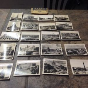PHOTOGRAPHS Paris Set of 20 3/4 x 2 1/2 B & W Photos In Envelope  With Index torn Holder
