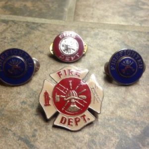 Misc Set Of 4 Fire Fighter Department Lapel Pins Badge [tag]