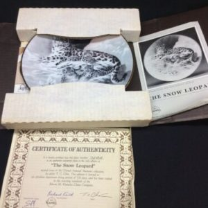 """Plates, Bowls & Spoons """"THE SNOW LEOPARD"""" KNOWLES CHINA COMPANY COLLECTIBLE PLATE #7245A w/ COA"""